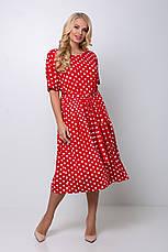 Красное платье в горошек большой размер Элена, фото 3