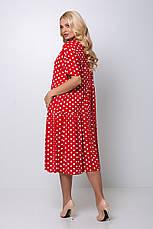 Червоне плаття в горошок великий розмір Елена, фото 3