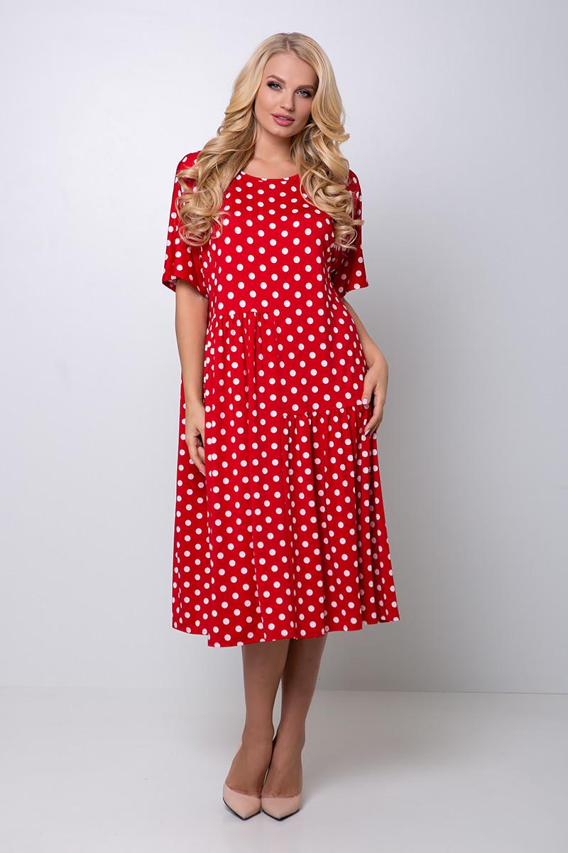 Красное платье в горошек большой размер Элена