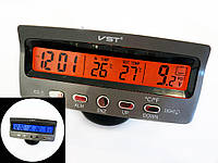 Часы автомобильные VST 7045V с индикацией заряда АКБ, и двумя термо-датчиками (две подсветки), фото 1