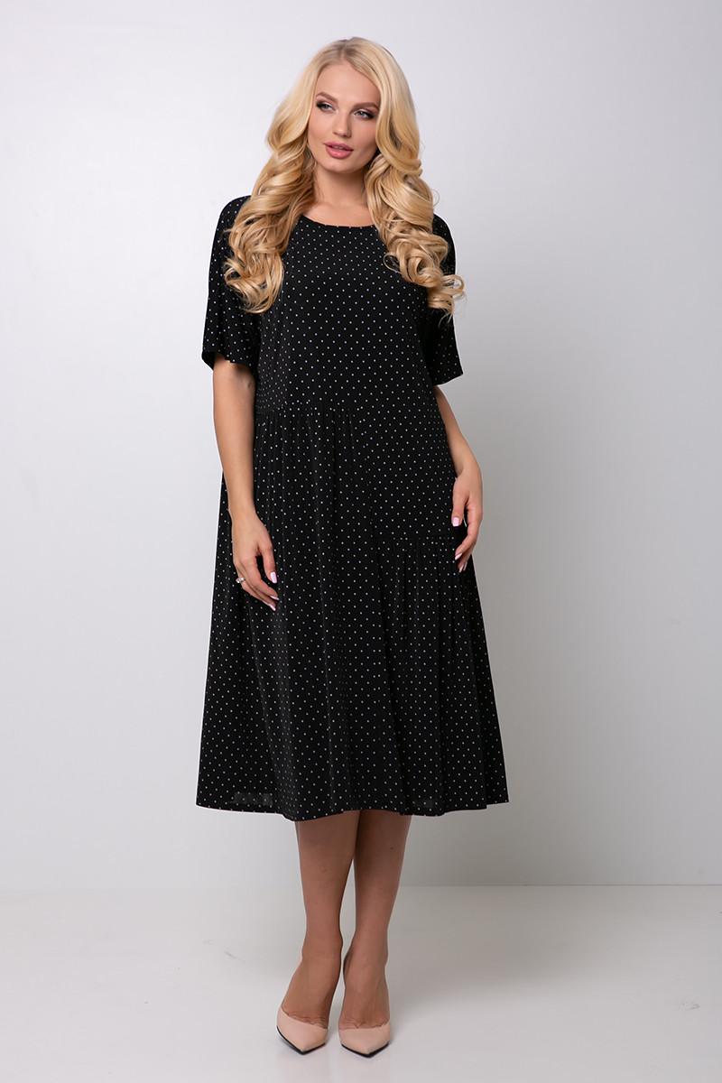 Платье в мелкий горошек для полных Элена