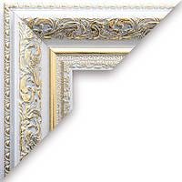 Рамка А2 42х60  ширина багета 5,8 см белая с золотом