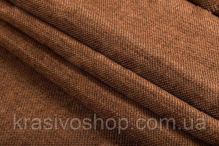 Ткань блэкаут  лен  темный  рыжий