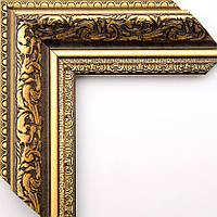 Рамка А2 42х60  ширина багета 5,8 см коричневая с золотом