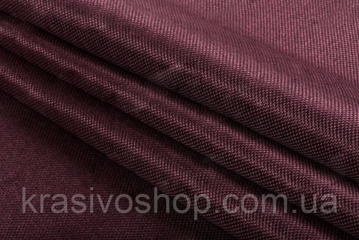 Ткань блэкаут  лен  темный  марсала