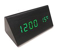 Часы сетевые VST-861 черные с зеленой подсветкой