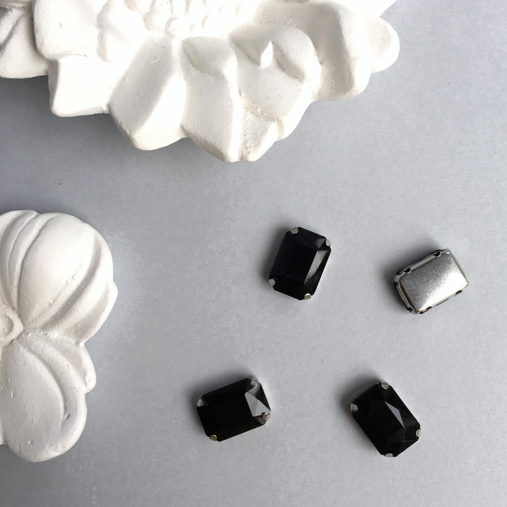 Кристаллы Прямоугольник 10х14 мм в цапах. Цвет: Black (Черный непрозрачный)