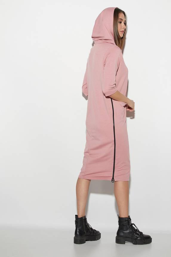 Трикотажное платье в спортивном стиле с капюшоном розовое, фото 2