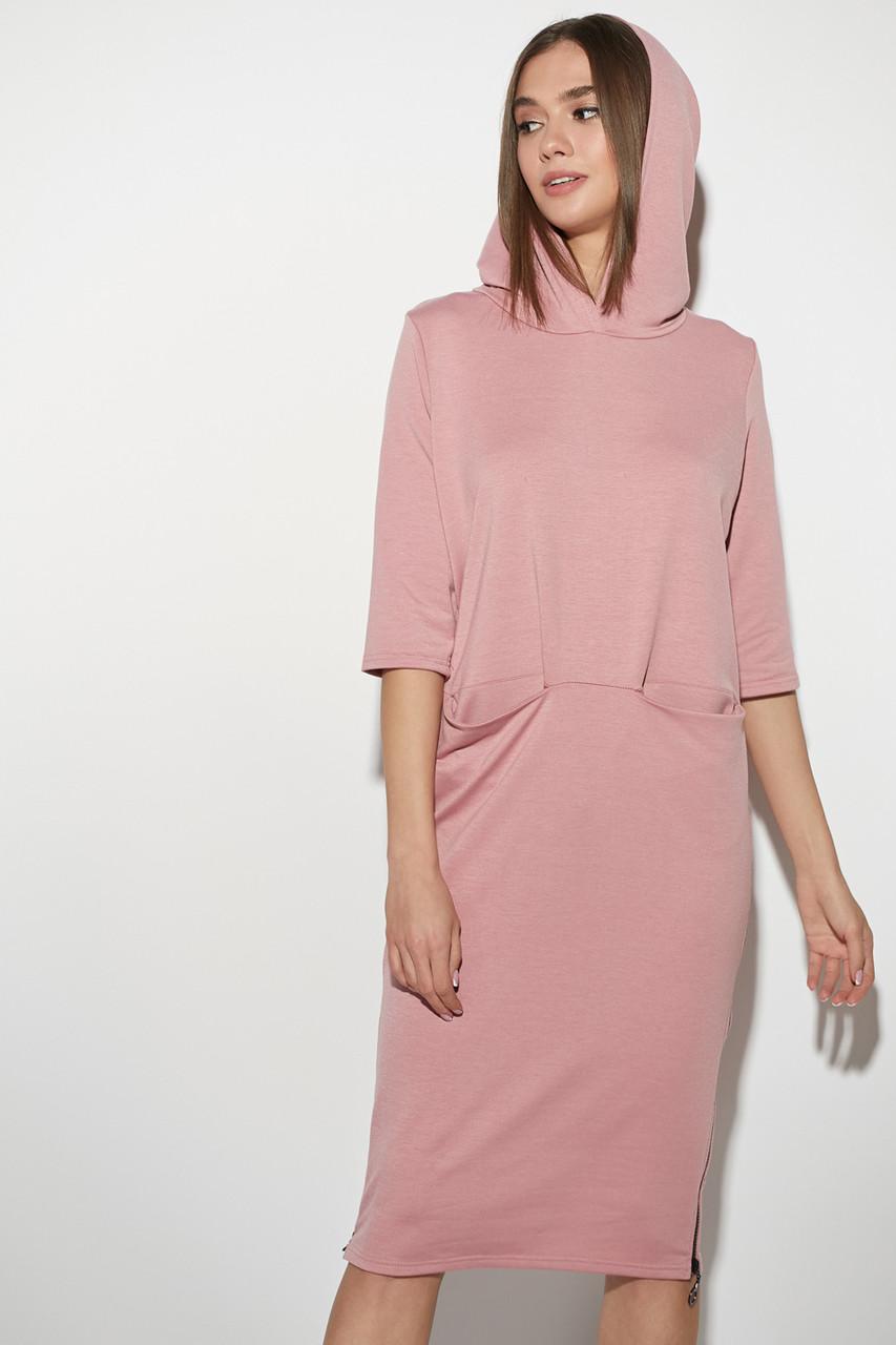 Трикотажное платье в спортивном стиле с капюшоном розовое