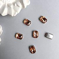 Кристаллы Прямоугольник 10х14 мм в цапах. Цвет: Peach (Персиковый)
