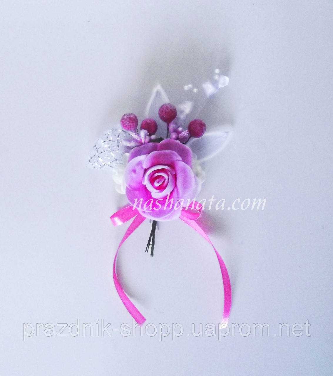 Бутоньерка свадебная, розовая.