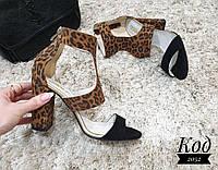 Стильные босоножки Код 2052 черно-леопардовые, фото 1