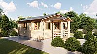 Дом дачный деревянный из профилированного бруса 6х6 м с навесом