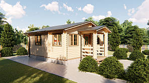 Дом дачный деревянный из профилированного бруса 6х6 м с навесом. Кредитование строительства деревянных домов