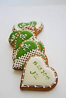 Свадебный  медовый имбирный пряник в стиле Рустик в зелёном цвете, фото 1
