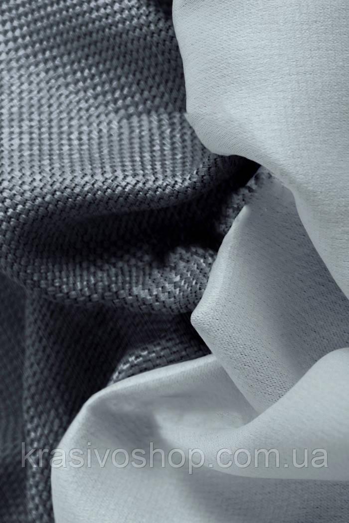 Ткань блэкаут  лен   графитовый