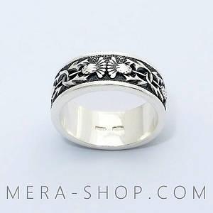 Серебряное кольцо Репейник из серебра 925 пробы (размеры 16-17)