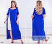 Платье длинное разрез короткий рукав лён 48-50,52-54,56-58, фото 2
