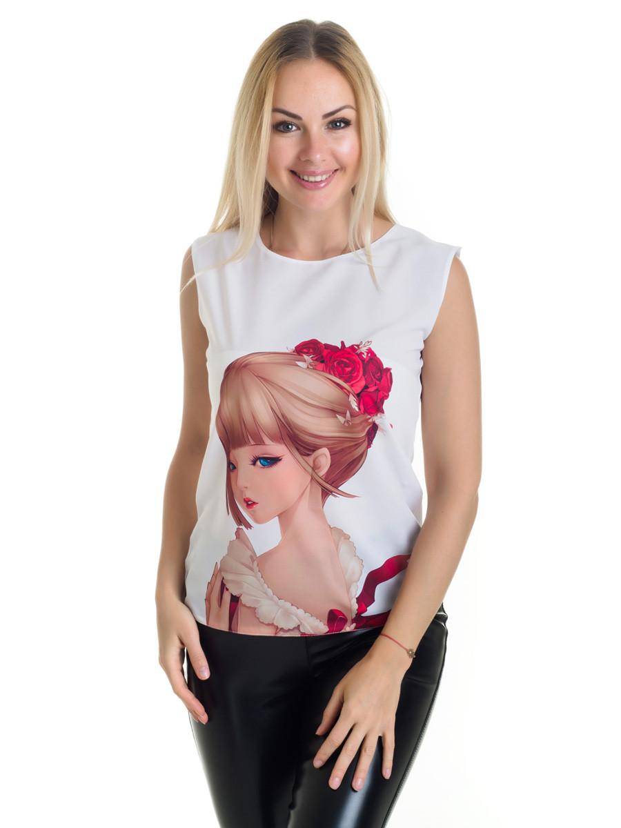 Женская блуза принт без рукава AA2016f