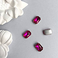 Кристаллы Прямоугольник 10х14 мм в цапах. Цвет: Fuchsia (фуксия)
