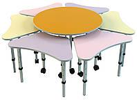Комплект из 7 детских столов «Ромашка № 1», ростовых групп № 1, 2, 3 — 665x385х460-580 мм, фото 1