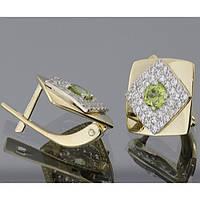 Женские серьги из желтого и белого золота с хризолитом
