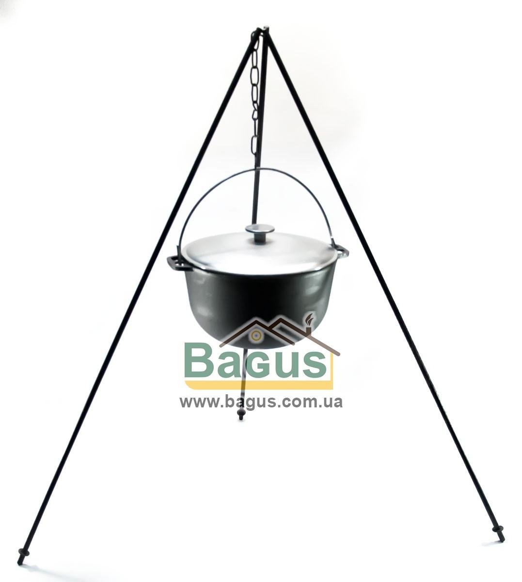 Казан чавунний туристичний 6л 26см з алюмінієвою кришкою, дужкою й триногою, посуд чавунна Біол (0706АК-3)