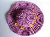 Шляпа женская из натуральной рафии, с венком  из цветков и жемчужин, фото 5