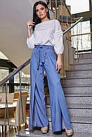 ✔️ Женские широкие брюки с разрезами 42-48 размера синие, фото 1