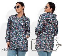 Ветровка из джинса без подклада с цветочным принтом, двойным капюшоном, репсовой лентом вдоль рукавов. 2 цвета