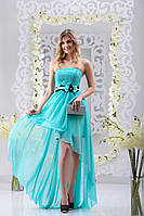 Яркое ассиметричное платье с атласным бантом на поясе