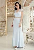 Женское длинное платье вечернее «Марлен» (Бежевое, голубое, пудровое | S, M, L, XL)