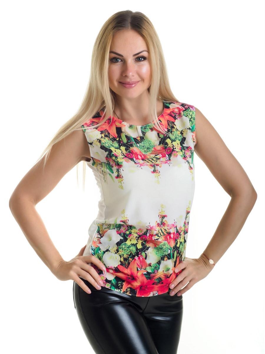 Женская блуза принт без рукава AA2030f