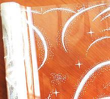 Плівка прозора з малюнком Завірюха біла 60 см 400 гр