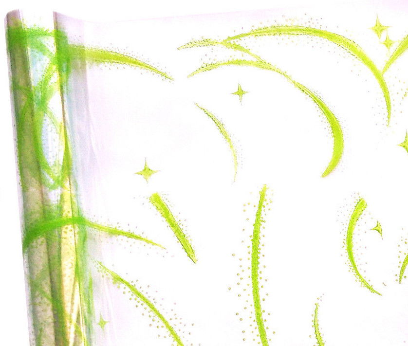 Пленка прозрачна с рисунком Вьюга зеленая  60 см 400 гр