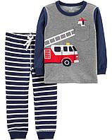 Комплект для мальчика двойка Carters 6М рост 61-69 см набор Картерс из 2 предметов Пожарная машина