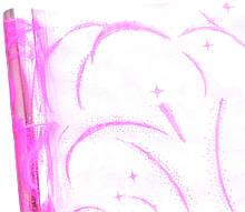 Плівка прозора з малюнком Завірюха рожева 60 см 400 гр