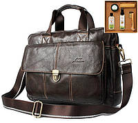 Мужская кожаная сумка Ox Bag Briefcase (коричневая, натуральная кожа) + подарок