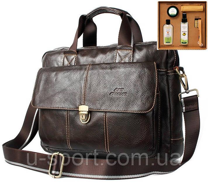 aa767f75 Мужская кожаная сумка Ox Bag Briefcase (коричневая, натуральная кожа) +  подарок