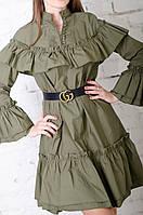 Женское хлопковое платье хаки