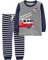 Комплект для мальчика двойка Carters 12М рост 72-78 см набор Картерс из 2 предметов Пожарная машина