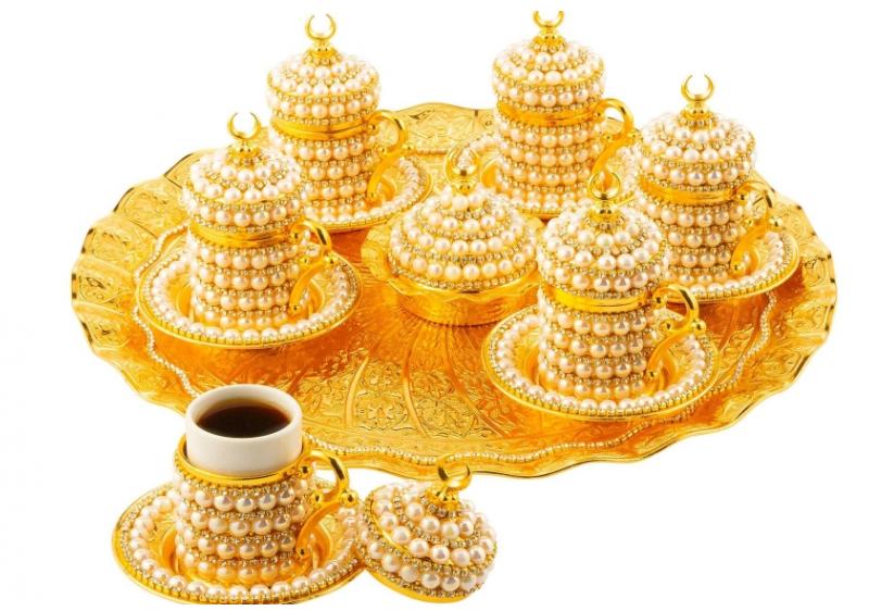 Набор чашек для кофе Золотой жемчуг на 6 персон