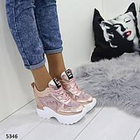 Женские сникерсы розовые с золотом 5346