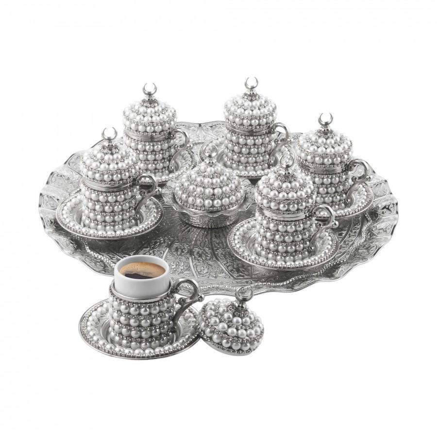 Набор чашек для кофе Серебристый жемчуг на 6 персон