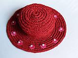 Шляпа женская из рафии, Красная шляпа с цветками и жемчужинами , фото 5