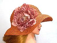 Шляпа женская из рафии, Терракотовая шляпа с большим цветком