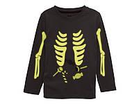 Детская футболка Скелет фосфорный 86-92 рост