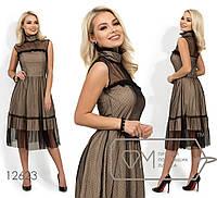 Платье-миди из сетки с подкладом, воротником-стойка и двустороней кокеткой, 2 цвета