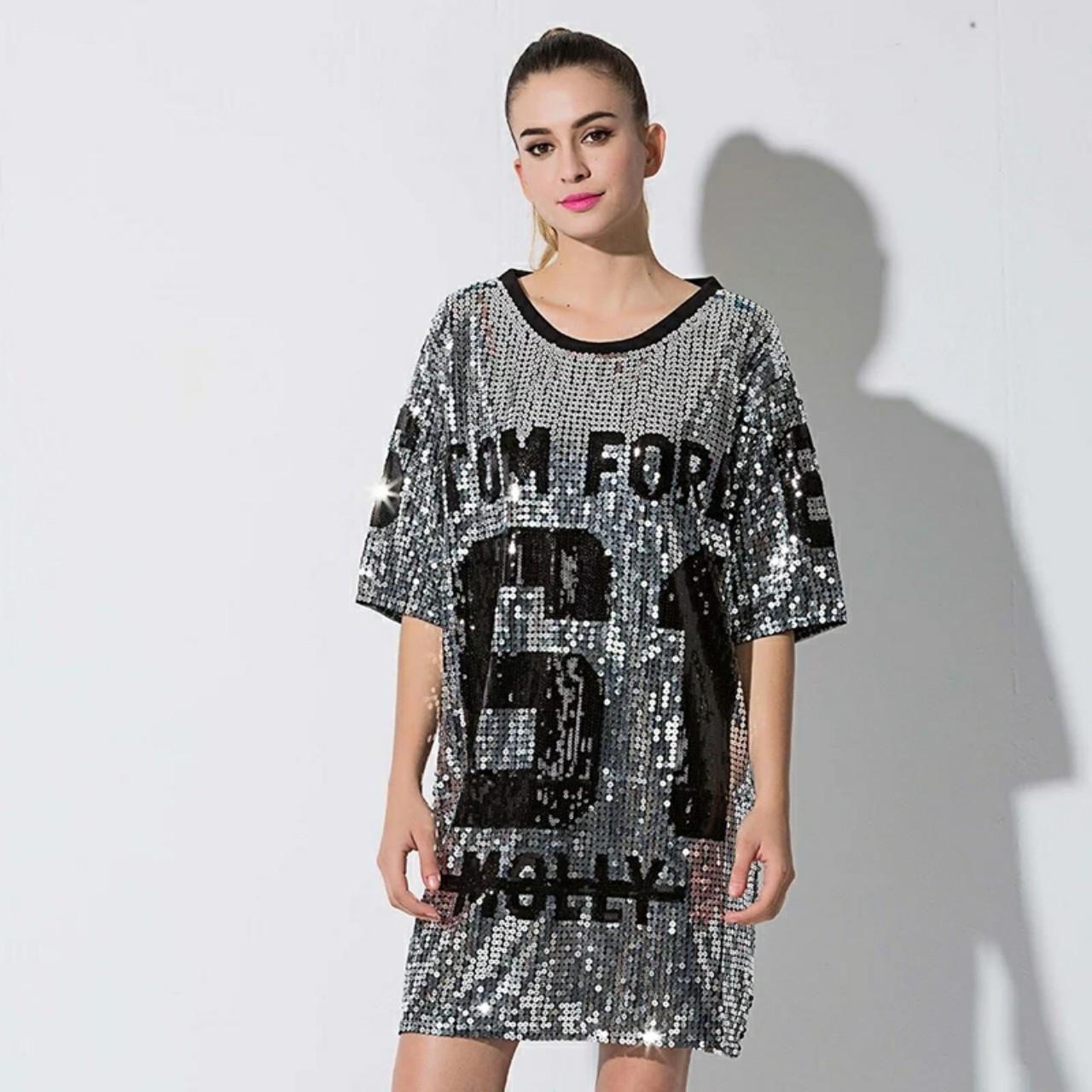 Женское платье туника Tom Ford 61 с пайетками серебристое