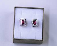Серьги из серебра гвоздики пуссеты с красным камнем и фианитами серебро 925 проба